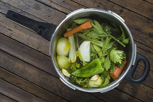 Saucepan with vegetables to cook a soup