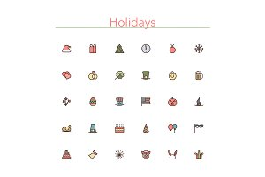 Holidays Colored Line Icons
