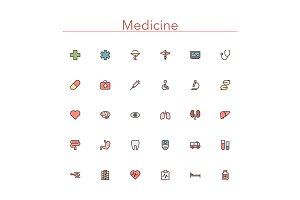 Medicine Colored Line Icons