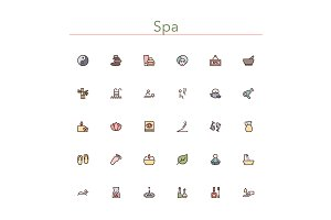 Spa Colored Line Icons