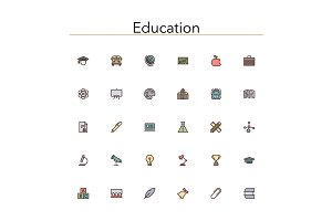 Education Colored Line Icons