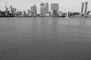 Canary Wharf in London in black and white