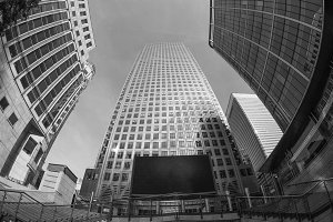 Canary Wharf skyline in London in black and white