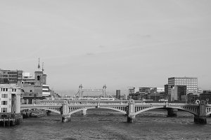 River Thames in London in black and white