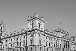 HMRC in London in black and white