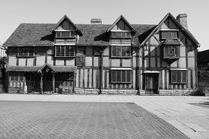 Shakespeare birthplace in Stratford upon Avon in black and white