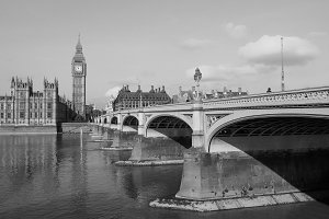 Westminster Bridge and Houses of Parliament in London in black and white