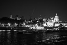 River Thames in London at night in black and white