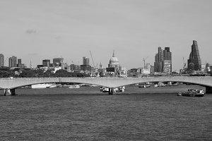 Waterloo Bridge in London in black and white