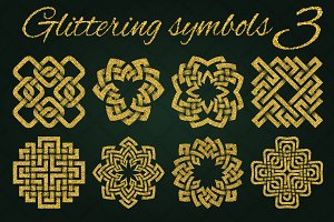 Golden glittering symbols pack 3