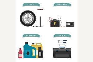 Auto parts flat icons