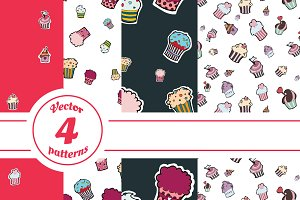 Vector pattern of cupcakes