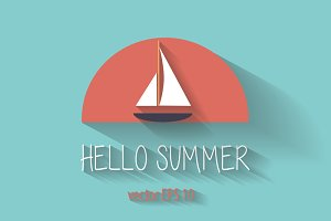 Yacht summer logo background vector