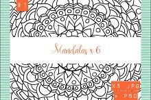Mandalas x 6 Hand drawn