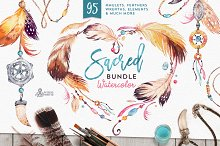 Sacred. Watercolor Tribal Bundle