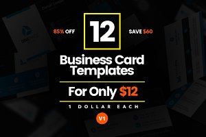 12 Modern Business Cards - Bundle v1