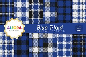 Blue Plaid Digital Paper Pack