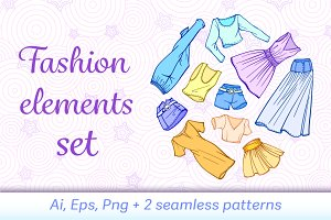 Vector fashion elements set