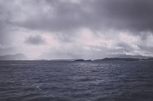 Dark Rain Clouds over the Ocean
