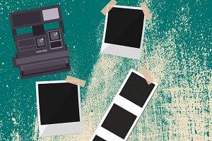Polaroid camera, polaroid frame