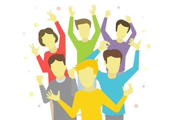 Happy people joyful group