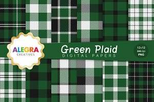 Green Plaid Digital Paper Pack