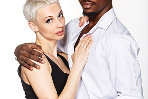 Interracial love. Hugging