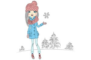 Fashionable girl in a coat