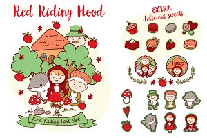 Red Riding Hood vector set