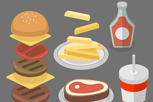 Fast food, burger, cola, fries