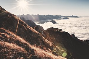 Wonderful sunset in Alps