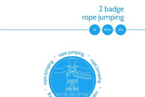 Rope jumping blue vector emblem