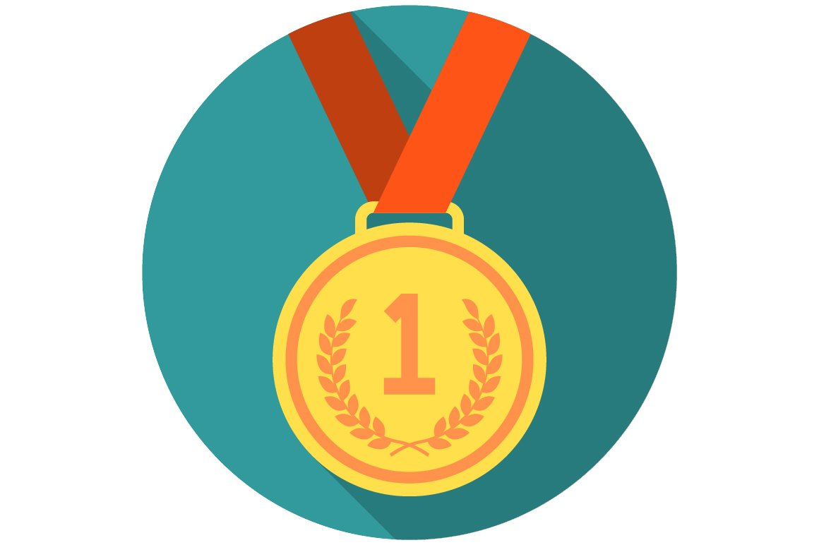Gold medal flat icon ~ Icons ~ Creative Market