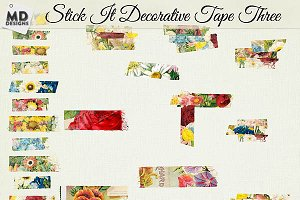 Digital Washi Tape Layered Floral