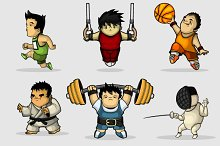 Various sports characters set