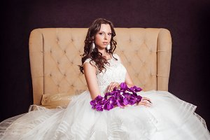 Beautiful bride in luxury hotel room