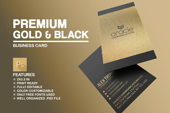 Premium gold and black business card business card templates premium gold and black business card wajeb