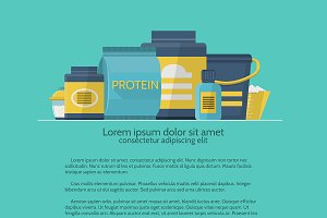 Sports diet flat vector illustration