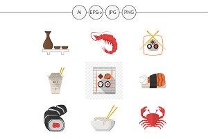 Seafood menu flat style icons. Set 1