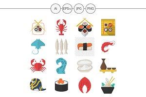 Seafood menu flat style icons. Set 2