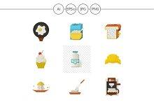 Breakfast menu flat icons. Set 1