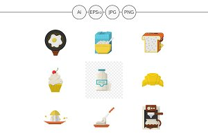 Breakfast menu flat icons. Set 1
