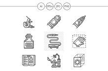 Tattoo equipment black icons. Set 1