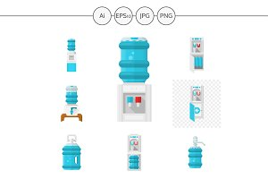 Water cooler appliances color icons