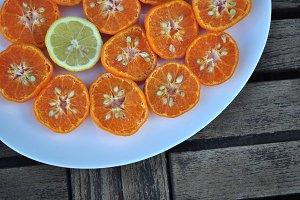 mandarins and cut lemon