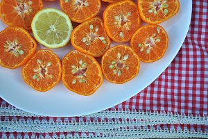 mandarins, lemon, tray, tablecloth
