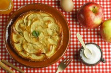 Apple cake and ingredients