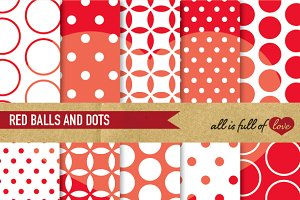 Red Patterns Polka Dots Paper Pack