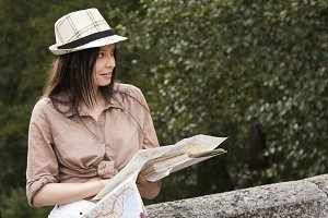woman with travel map