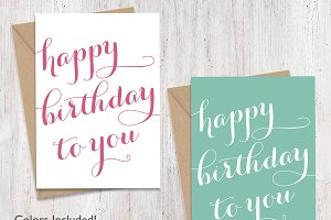 Script Happy Birthday Cards